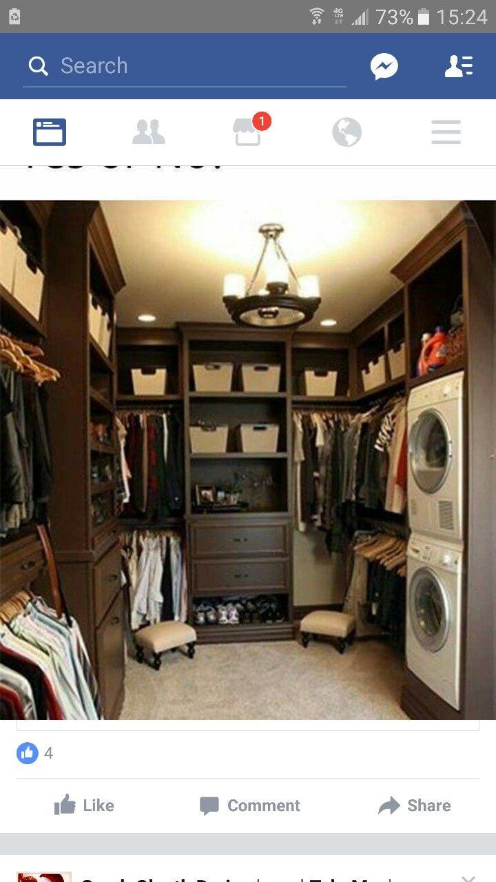 washing machine in closet
