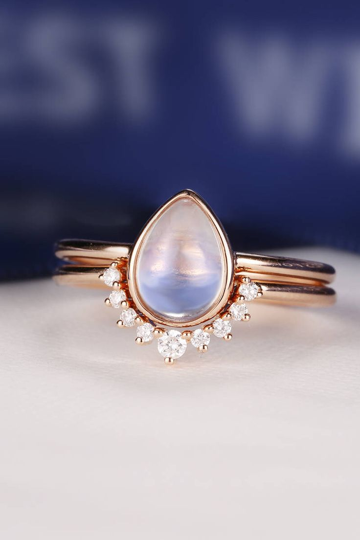 Moonstone Engagement Ring set 14K Rose Gold Diamond Wedding Women Bridal jewelry Vintage Pear Shaped Cut Stacking Tear Drop Alternative by HelloRing on Etsy https://www.etsy.com/ca/listing/520691494/moonstone-engagement-ring-set-14k-rose