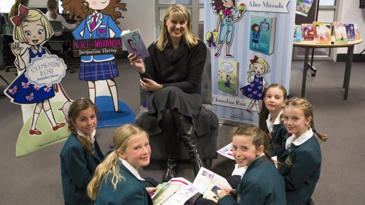 Author Jacqueline Harvey with  Canberra Girls Grammar Junior School students, from left, Lucy Galland, 9, Annika Wilson, 9, Sienna Page, 8, Jessica Latham, 8, and Gabrielle Smith, 8.
