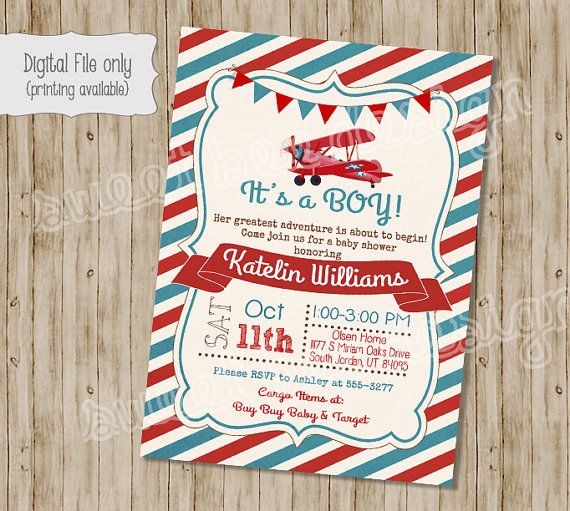 Airplane Baby Shower Invitation Plane Baby by SweetBeeDesignShoppe