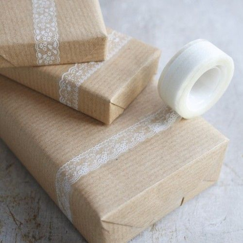 I have always liked wrapping gifts with bown paper.  What a sweet idea to add the lace.