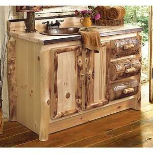 Aspen Log Bathroom Vanity   48 Inch Found In Our Rustic Single Vanities At Home  Furniture Design Ideas.