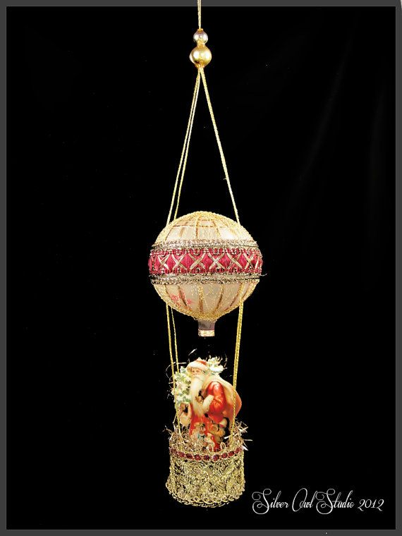 Victorian Christmas Ornament  Hot Air Balloon with Santa Claus by SilverOwlStudio, $400.00