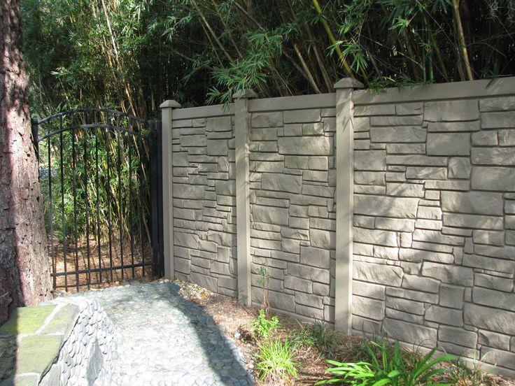 Simtek-rock fence design with aluminum gate Mossy Oak Fence