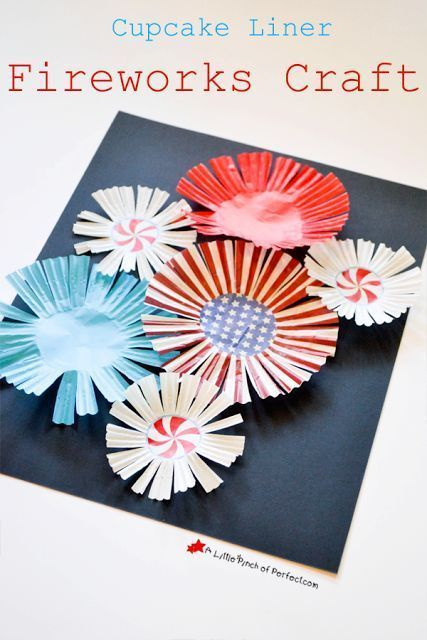 Cupcake Liner Fireworks Craft for Kids-Fourth of July, Flag Day, Memorial Day