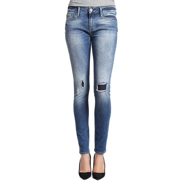 Mavi Alexa Distressed Skinny Jeans- ($118) ❤ liked on Polyvore featuring jeans, patch vintage, blue skinny jeans, destructed skinny jeans, destroyed denim skinny jeans, skinny jeans and vintage jeans