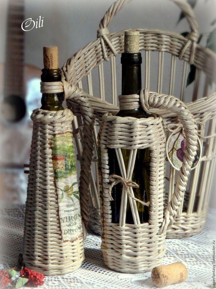 """Купить набор корзинка и 2 бутылки оплетенные """"Очарование Тосканой"""" - серый, кухонный набор"""