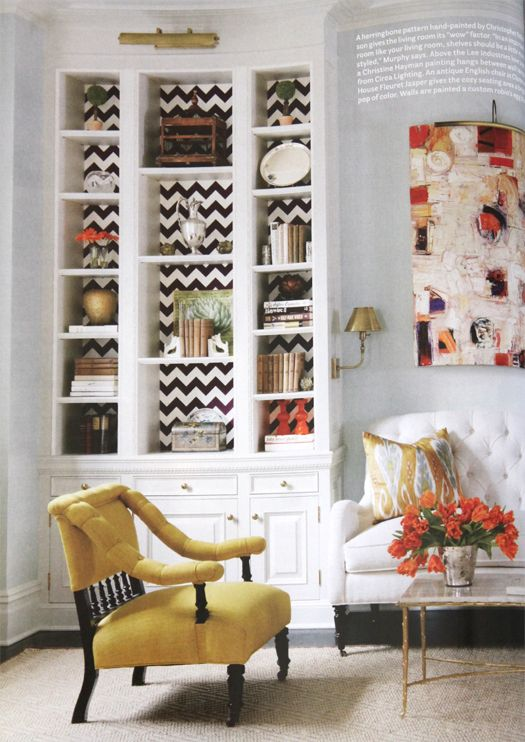Pretty room colors, great patterned bookshelf backing