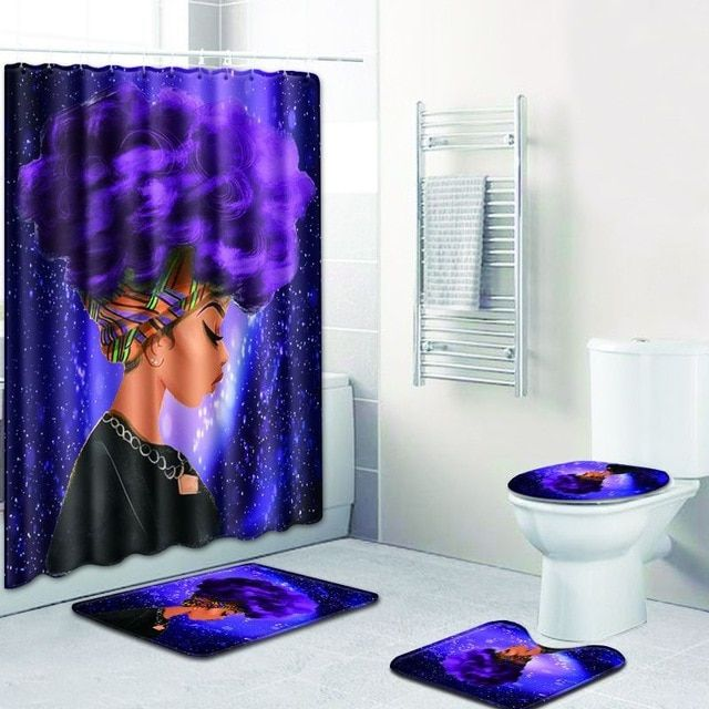 Fashion African Woman Pattern Polyester Shower Curtain Set Non