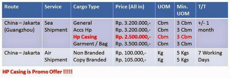 FJ Cargo door to door service China-Jakarta price list