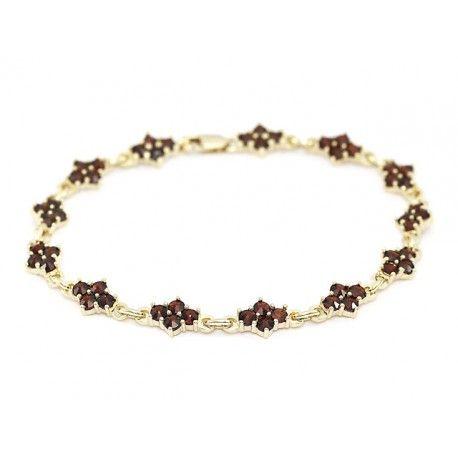 Zlatý granátový náramek - 063 (Au 585)  8,09