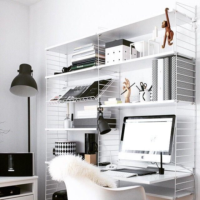 Ikea 'Hektar' floor lamp & String work desk by @my_full_house