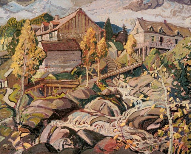 """The Mill, Quebec,"" Arthur Lismer, 1925, oil on canvas, 32.3 x 40.25"", National Gallery of Canada."