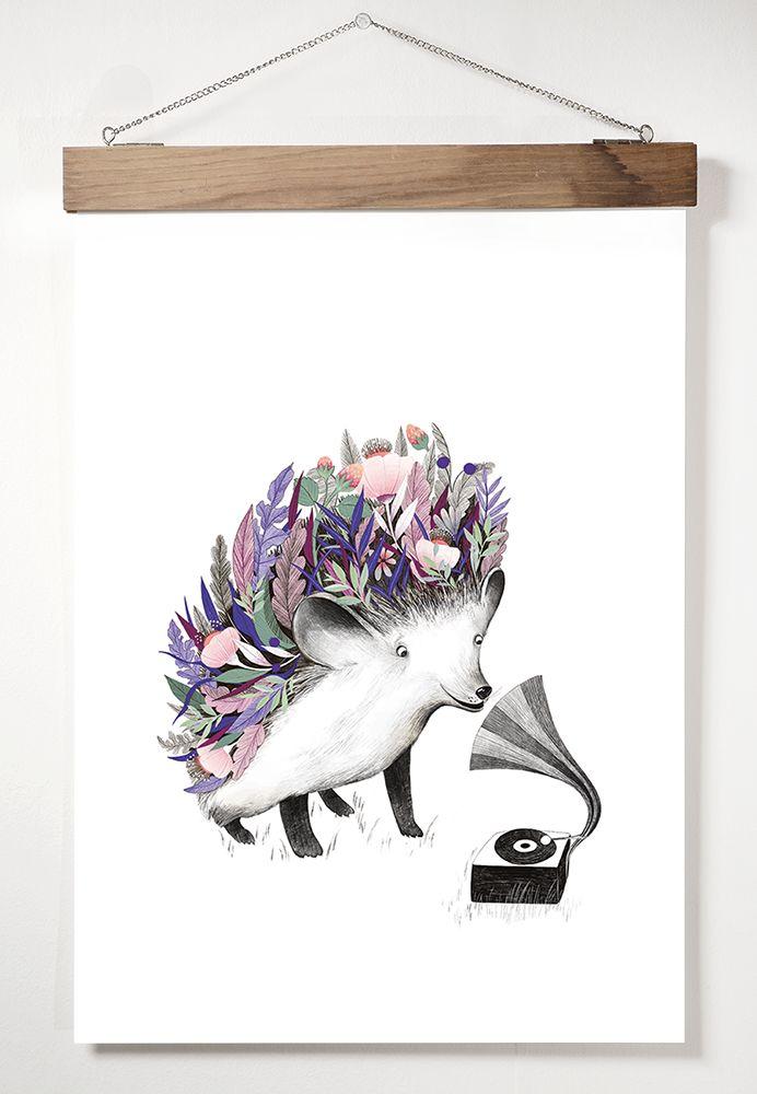 "A3 Adelina Lirius ""Flourishing Hedgehog"" Taideprintti/juliste/poster"