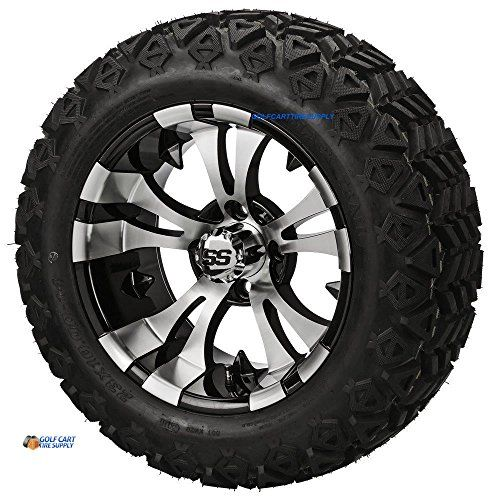 "14"" VAMPIRE Machined/Black Aluminum Wheels and 23x10-14"" DOT All Terrain Golf Cart Tires Combo - Set of 4 (New Style 5-Spoke Vampire!)  Includes: (4) 14""x7"" VAMPIRE Machined Black Golf Cart Wheels (5-Spoke new style!), (4) 23x10-14 DOT Approved All Terrain Golf Cart Tires, (4) Chrome Center Caps, (4) Sets of Chrome Lug Nuts  A lift kit is required for all Club Car, EZGO, and Yamaha Golf Carts  Stands 23"" Tall (from ground to the top of tire)  DOT All Terrain tire tread great for both O..."