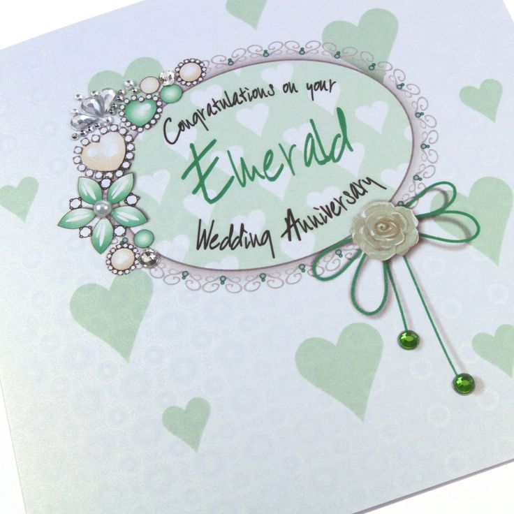 Handmade Luxury Emerald Wedding Anniversary Card Ice Gold Shimmer Royal Regal Vintage Heirloom Congratulations