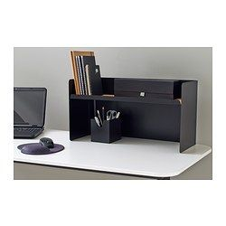 IKEA - BEKANT, Desktop shelf, black, , Attaches to BEKANT table tops for easy access storage that clears table space.Easy to manage cords as there are convenient holes in the back corners of the shelf.