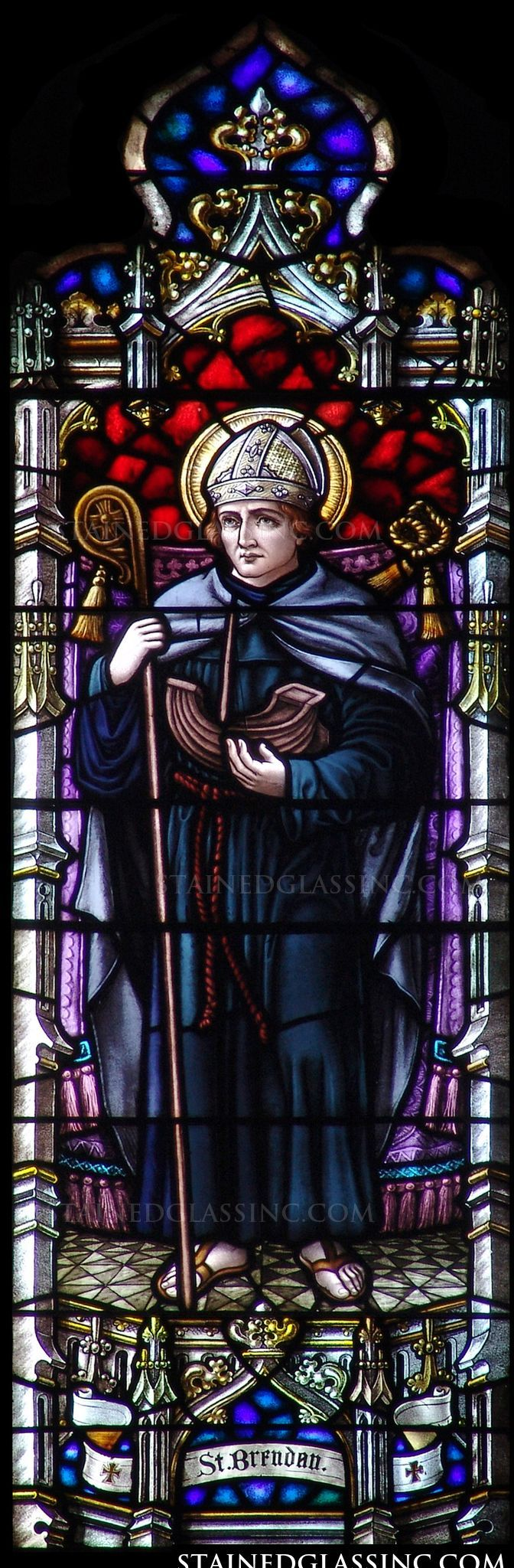 """""""St. Brendan"""" Religious Stained Glass Window"""