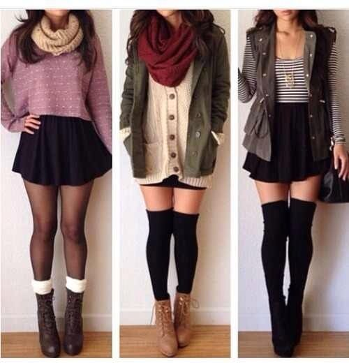 Scarf green jacket tights lace socks boots knee high socks black skirt plain sweater striped shirt