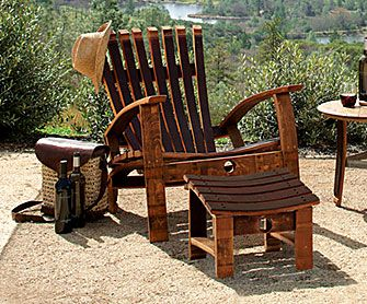 Barrel Stave Adirondack FurnitureOutdoor Ideas, Adirondack Chairs, Wine Barrels, Barrels Stave, Barrels Furniture, Barrels Chairs, Napa Style, Stave Adirondack, Adirondack Furniture