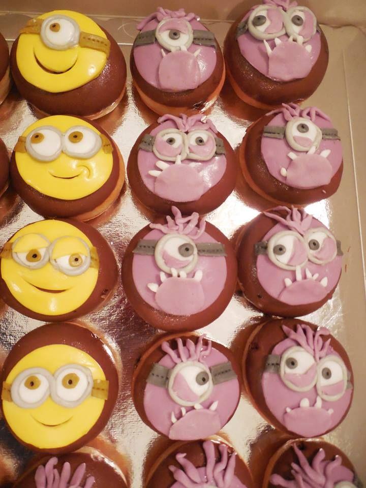 Minion donuts with hazelnut praline filling