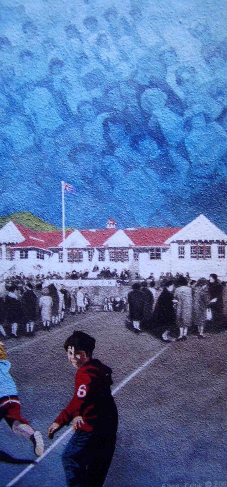 """Commission. """"Welcome Back"""" Oil on Board, 60cm x 29cm, made for Berhampore School's Centenary celebrations, 2005."""