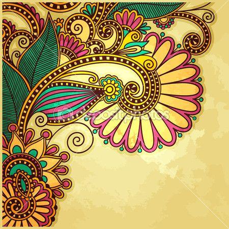 desenho de flores sobre fundo grunge