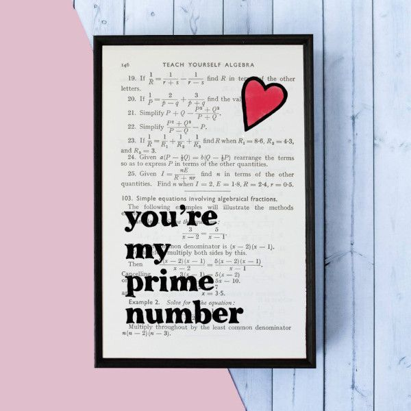 Gifts For Him :    Romantic Geek Gift Prime Number quote – book page print
