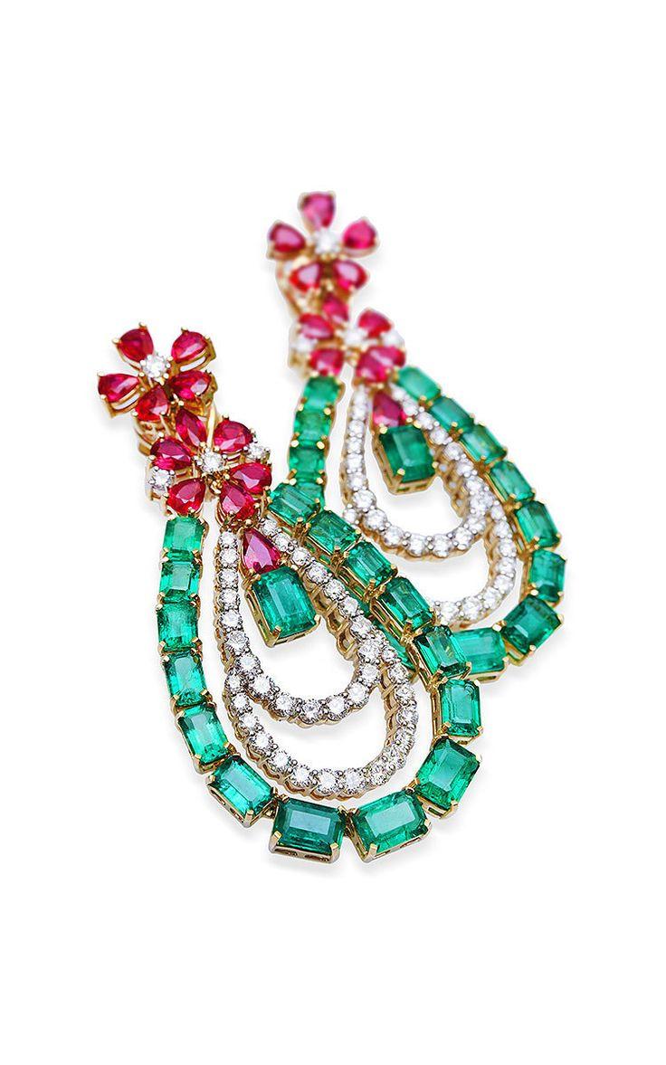 Farah Khan Zambian Emerald Chandelier Earrings by Farah Khan Fine Jewelry   Moda Operandi