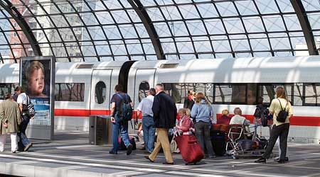 A Deutsche Bahn train in Berlin's main station.