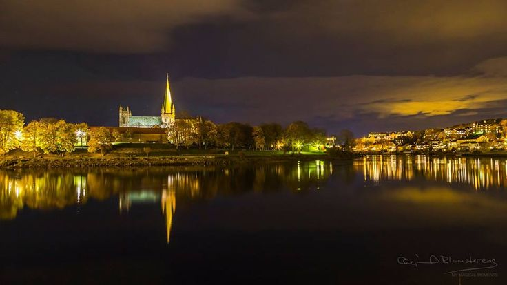 Peaceful night by Nidelven River in Trondheim