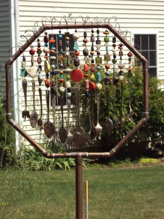Lovely Wind Chime Made Of Old Silverware And Copper Pipe