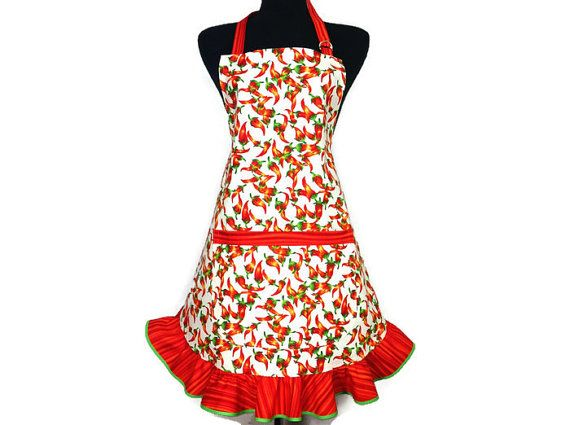 Chili Pepper Apron for Women  Retro Mexican Kitchen by ElsiesFlat (Home & Living, Kitchen & Dining, Linens, Aprons, chili peppers, chili pepper apron, kichen apron, retro kitchen apron, southwestern, mexican cooking, apron with ruffle, frilly apron, retro style kitchen, waitress apron, cinco de mayo, orange and white, plus size apron)