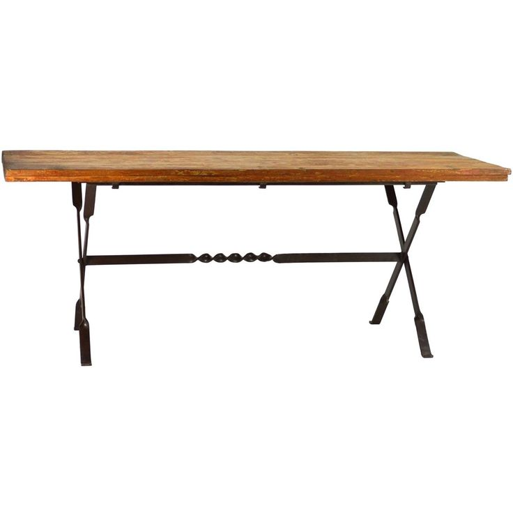 Folding dining/picnic table with wrought iron base and