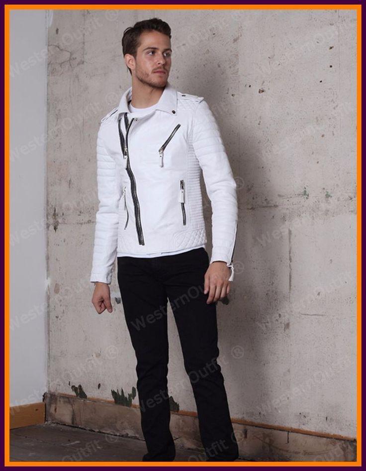 New Men's Genuine Lambskin Leather Jacket White Slim fit Biker Motorcycle jacket #WesternOutfit #Motorcycle