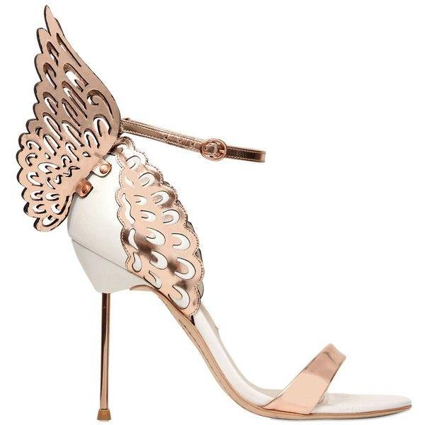 SOPHIA WEBSTER 110mm Evangeline Wing Leather Sandals - Rose Gold/White