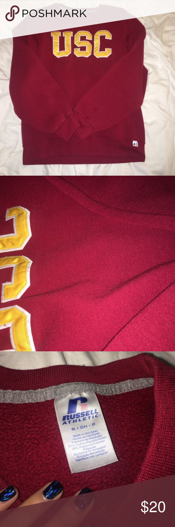 USC sweatshirt - crew neck style cute USC crew neck sweatshirt! Super comfy and cozy. Has minor pilling but it doesn't affect the wear. The inside isn't as soft as it used to be but still has a lot of life left! Size small Tops Sweatshirts & Hoodies