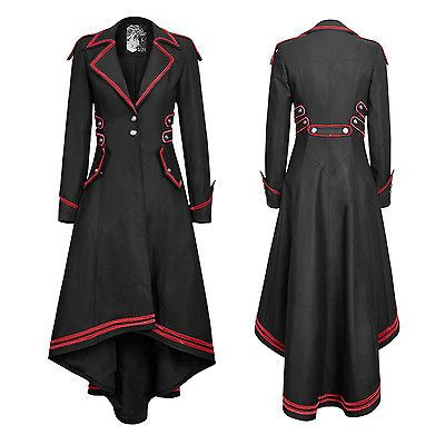 Punk Rave stylish Military Uniform Long Coat Jacket,Black Steampunk Gothic rock