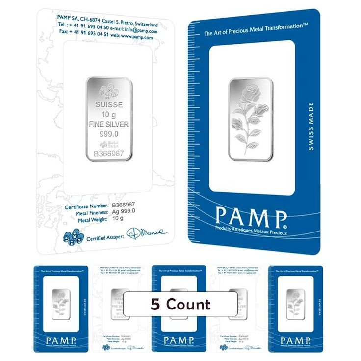 Lot of 5 - 10 Gram PAMP Suisse Rosa Silver Bar .999 Fine (In Assay)