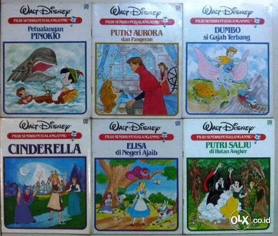 Cergam Walt Disney : Pilih Sendiri Petualanganmu - Penerbit Gramedia Pustaka Utama Cetakan 2001 43 halaman - 1. Petualangan Pinokio 2. Putri Aurora dan Pangeran 3. Dumbo si Gajah Terbang 4. Cinderella 5. Elisa di Negeri Ajaib 6. Putri Salju di Hutan Angker