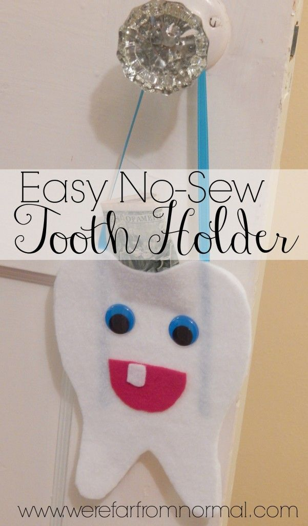 Have a little one with loose teeth? This little no-sew tooth holder is the perfect place for the tooth fairy to leave money! So easy and the kids love it!