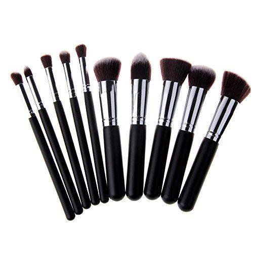 Unimeix 10 pcs Premium Synthetic Kabuki Makeup Brush Set Cosmetics Foundation Blending Blush Eyeliner Face Powder Brush Makeup Brush Kit Black Silvery -- Click on the image for additional details.