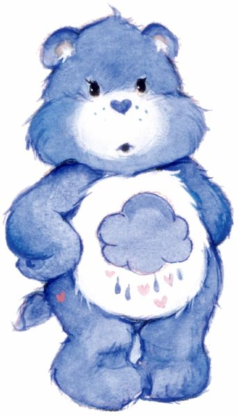"Grumpy Bear shows us how silly it is to let our grumpiness go too far.  His rain cloud with heart-shaped raindrops means a little grumpiness is okay.  ""I'm not mad, I'm Grumpy!"""