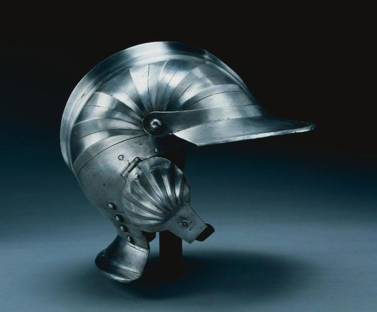 Burgonet, c. 1510 - 1540 Italy, Milan(?), 16th century steel, radiate flutings, Overall - h:25.30 w:26.00 d:25.30 cm (h:9 15/16 w:10 3/16 d:9 15/16 inches) Wt: 1 kg