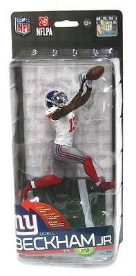 Odell Beckham Jr. is featured in his white and grey uniform making a catch in this NFL 37 Variant Action Figure. Mariota was the 2014 NFL Offensive Rookie of the year, and made the catch of the year in a Giants vs. Cowboys game. With this collectible figure, you can show your support for the New York Giants and for this talented player. Comes on a sturdy base and makes a great addition to any collection. #mcfarlane #toy #actionfigure #collectible #beckham #nfl