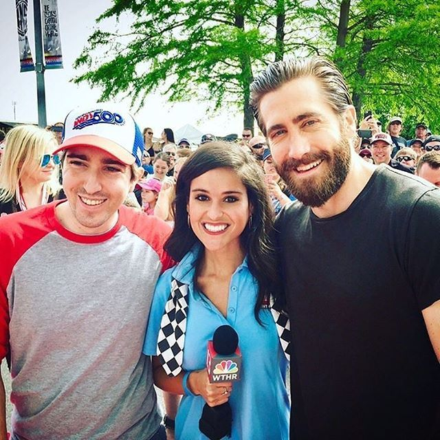 Jake Gyllenhaal and Jeff Bauman at Indy 500 today.