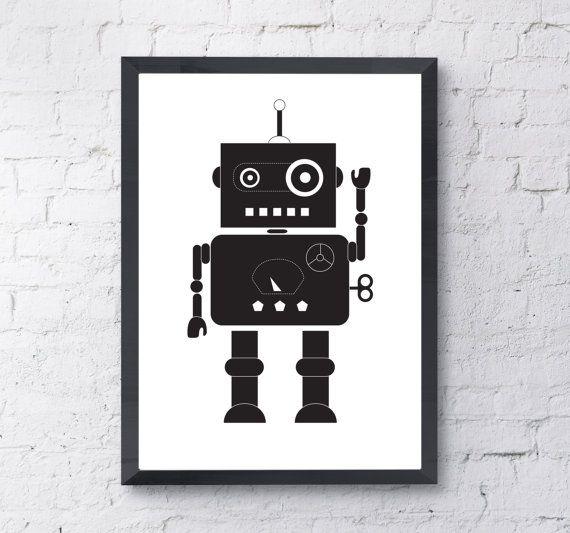 Robot Print Instant Digital Download A4/ A3 by LittlePrintShopUK