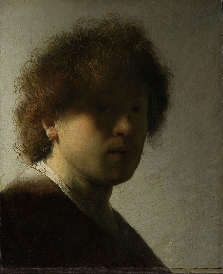 Self-portrait at an early age, Rembrandt Harmensz. van Rijn, 1628.  Despite his lack of experience, the young Rembrandt was not afraid to experiment. In this early self portrait the light brushes past his right cheek. The rest of the face is cloaked in shadow. It takes a moment to realise that the artist is staring intently, directly at the viewer. #Rembrandt used the back of his brush to scratch in the wet paint, to accentuate the curls of his wild, unkempt hair.