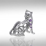 Magickal Cat Silver Pendant TPD337 - With a playful backwards glance this Celtic inspired cat is beckoning you to play! Your choice of stunning gem adds a special sparkle to this cute kitty.  Peter Stone – the world's leading manufacturer of fine sterling silver Wicca and Pagan jewelry – has created the Wiccan Cat Collection to celebrate the cat's long relationship as a companion to practitioners of Wicca.