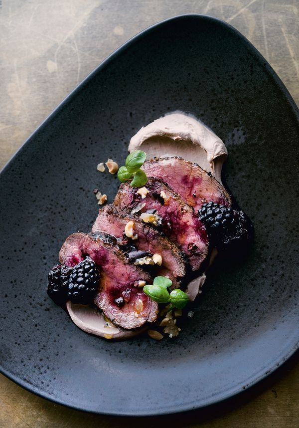 Venison Fillet with Date Labneh, Blackberries and Peanut Crumble NOPI